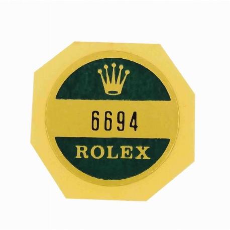 6694 Rolex Case Back Sticker Oysterdate Precision Stahl