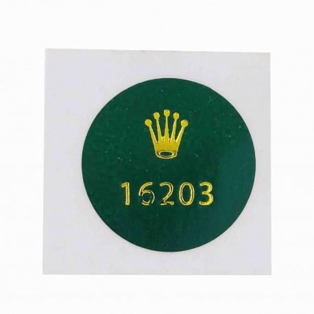 16203 Rolex Caseback Sticker Vintage Master Steel Gold